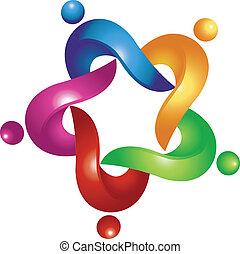 portion, logo, vecteur, collaboration, gens