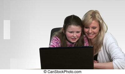portion, mère, informatique, enfant