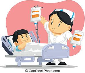 portion, malade infirmière, dessin animé