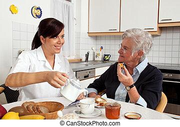 portion, personne agee, petit déjeuner, infirmière, citoyen