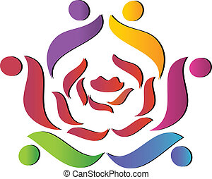 portion, rose, équipe, logo