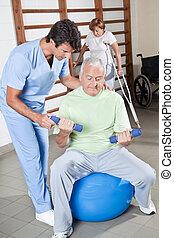 portion, thérapeute, patient, physique