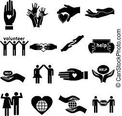 portion, volontaire, ensemble, icônes