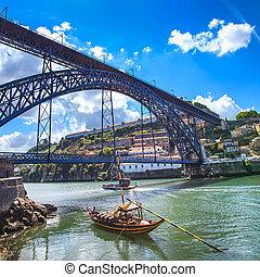porto, horizon, oporto, portugal, rivière, douro, fer, bateaux, europe., bridge., ou