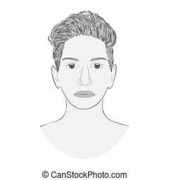 portrait., arrière-plan., croquis, isolé, monochrome, blanc mâle