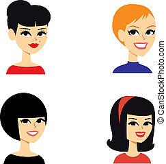 portrait, avatar, femmes, série