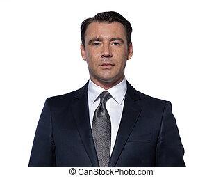 portrait, beau, homme affaires