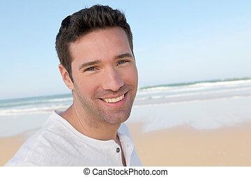 portrait, beau, plage, homme