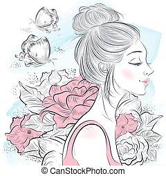 portrait, belle femme
