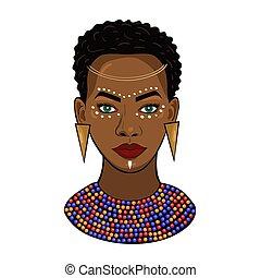 portrait, blanc, princesse, africaine, isolé, graphiques, vecteur, arrière-plan.
