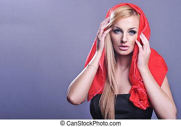 portrait, blond, mignon