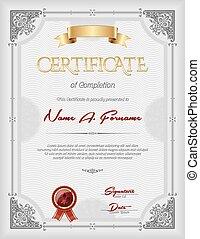 portrait, certificat, achèvement