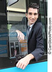 portrait, chauffeur, autobus