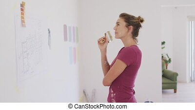 portrait, coronavirus, femme, pandémie, pendant, quarantaine, caucasien, intérieur, travail