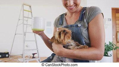 portrait, coronavirus, femme, pandémie, thé, pendant, quarantaine, boire, caucasien