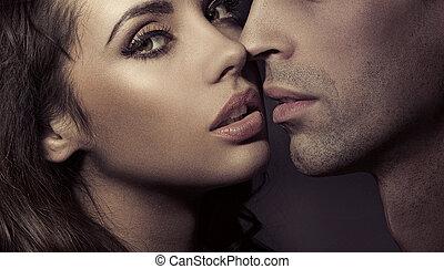 portrait, couple, aimer, haut fin