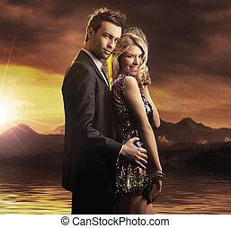 portrait, couple, beauté
