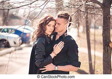portrait, couple, rue, jeune, sensuelles
