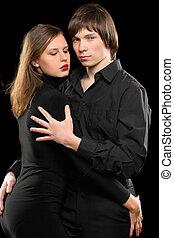 portrait, couple, sensuelles, aimer