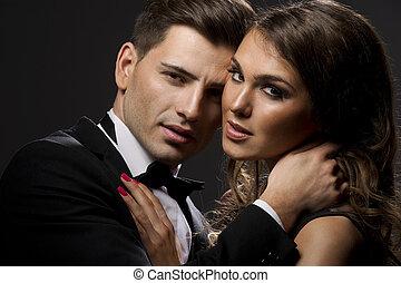 portrait, couple, sensuelles, mignon
