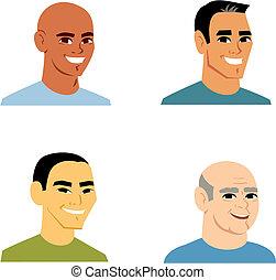 portrait, dessin animé, homme, avatar, 4