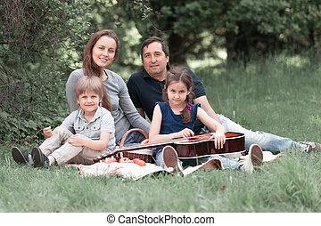 portrait, dimanche, pique-nique, famille, heureux