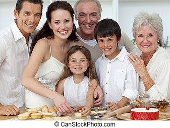 portrait, enfants, cuisine, parents, cuisson, grands-parents, heureux