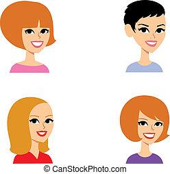portrait, ensemble, dessin animé, avatar
