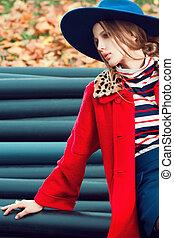 portrait, extérieur, modèle, mode