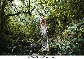 portrait, fée, femme, romantique, forêt