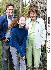 portrait, famille, grand-maman
