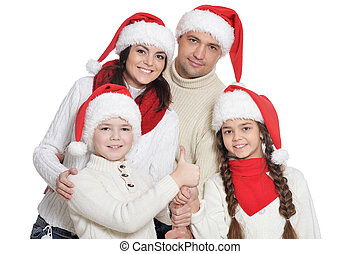 portrait famille, santa, gosses, chapeaux