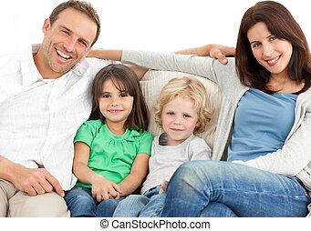 portrait, famille, sofa