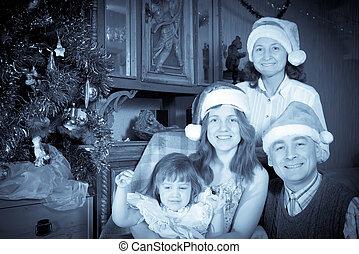 portrait, famille, vendange, heureux