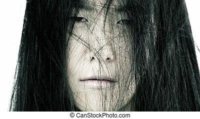 portrait, femme, asiatique, triste