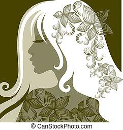 portrait, femme closeup, vecteur