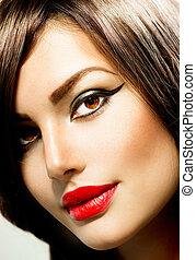 portrait., femme, maquillage, mode, beauté