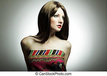 portrait, femme, mode, studio, jeune