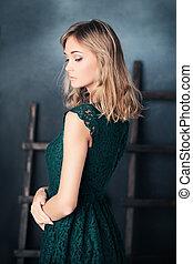 portrait, femme, mode, studio, posing.