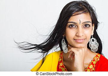 portrait, femme, studio, indien