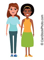 portrait, femmes, caractère, dessin animé, avatar