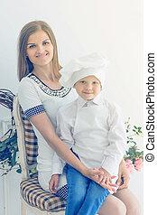 .portrait, formulaire, lumière, mère, jeune chef, fond, enfant, heureux