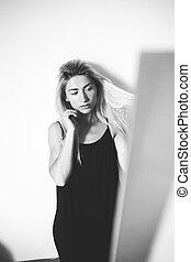 portrait, girl, black'n'white