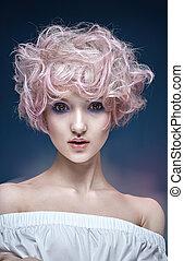portrait, girl, coiffure, bouclé, pelucheux