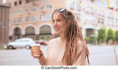 portrait, girl, matin, hipster, dehors