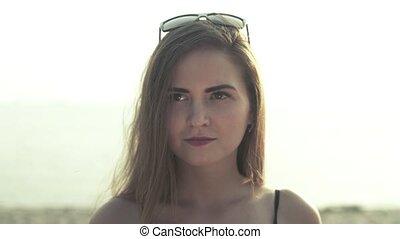 portrait, girl, plage