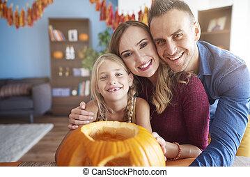 portrait, halloween, famille