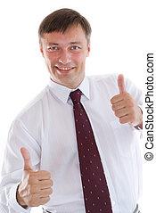 portrait, heureux, homme affaires