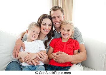 portrait, heureux, sofa, famille, séance