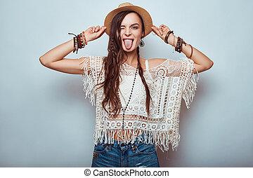 portrait, hippie, belle femme, jeune